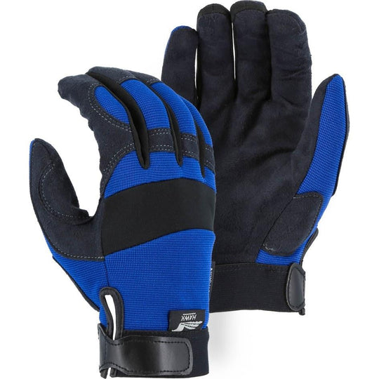 Mechanics Gloves with Armor Skin Palm - Adjustable Wrist Velcro (PK 12 Pairs) - Majestic