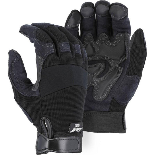 Mechanics Gloves with Reinforced Armor Skin Palm - Adjustable Wrist Velcro (PK 12 Pairs) - Majestic