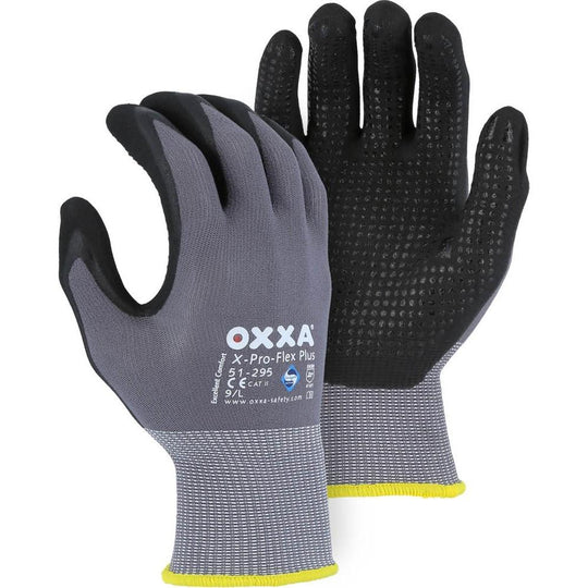 OXXA Micro Foam Nitrile Palm Dip and Dotted Nylon Glove - Sanitized with Actifresh Antibacterial (PK 12 Pairs) - X1 Safety