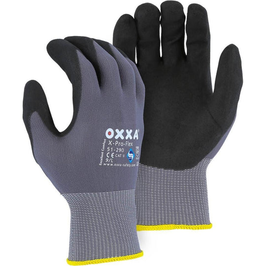 OXXA Micro Foam Nitrile Palm Dip Nylon Glove - Sanitized with Actifresh Antibacterial (PK 12 Pairs) - X1 Safety