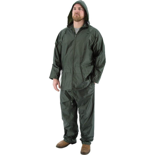 Rain Suits - Premium Waterproof Two-Piece Hooded Polyester with PVC Coating (PK 5 Suits) - Majestic - X1 Safety