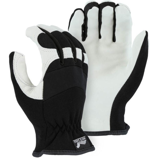 Shirred Slip-On Mechanics Glove with Premium Grain Goatskin Leather Palm (PK 12 Pairs) - Majestic
