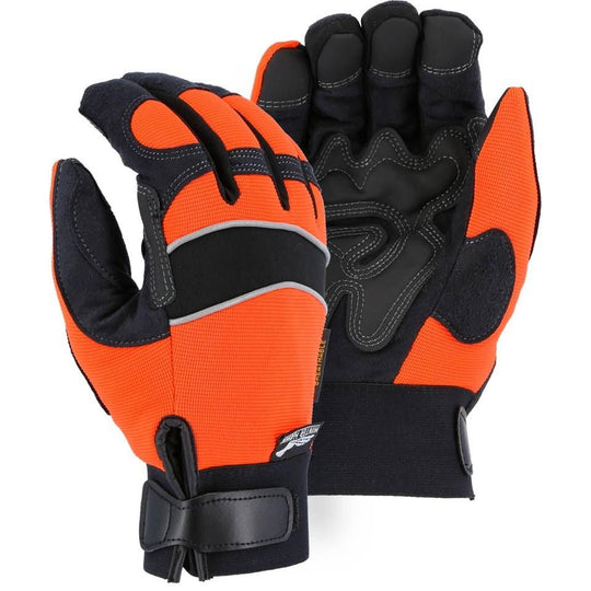 Waterproof Winter Lined Adjustable Wrist Velcro Mechanics Glove with Grip Patches on Armor Skin Palm (PK 12 Pairs) - Majestic - X1 Safety