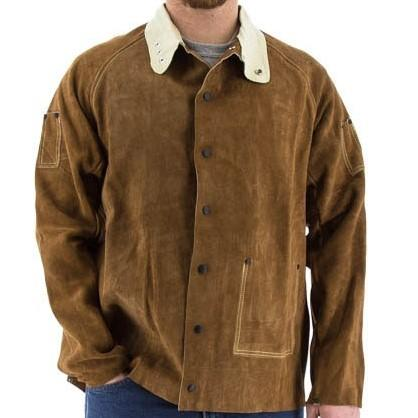 Welding Coat - 30 Inch Long Premium Split Cowhide Leather Jacket Sewn with Kevlar - Majestic