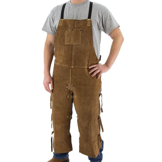 Welding Split Leg Apron - 48 Inch Top Grade Cowhide Leather Sewn with Kevlar - Majestic