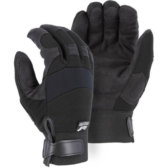 Winter Lined Adjustable Wrist Velcro Mechanics Gloves with Armor Skin Palm (PK 12 Pairs) - Majestic - X1 Safety