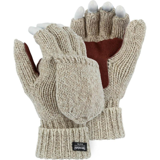 Wool Glove - Leather Palm, Two-Ply, Winter Lined, Fingerless (12 Pairs) - X1 Safety
