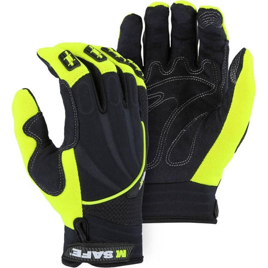 X20 High Visibility Touch Screen Mechanics Glove with Impact Protection and Heavyweight Armor Skin Palm (PK 12 Pairs) - Majestic - X1 Safety