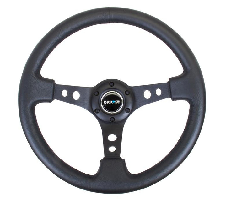 "NRG ""Deep Dish"" Leather Steering Wheel 350mm w/Black Stitch"