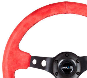 "NRG ""Sports Style"" Red Suede Steering Wheel 350mm w/Black Stitch"