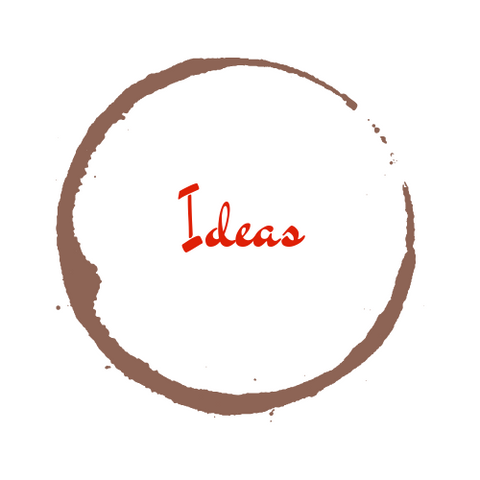 image of the word 'ideas' with a coffee stain around it