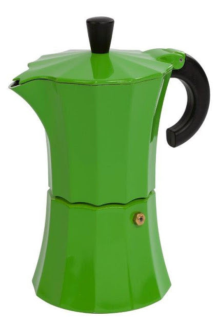 Gnali & Zani designed Morosina Express moka style stove-top aluminium espresso coffee maker in green.