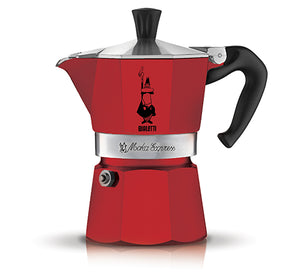 Bialetti Moka Express 6 Cup stove-top espresso coffee maker in red.
