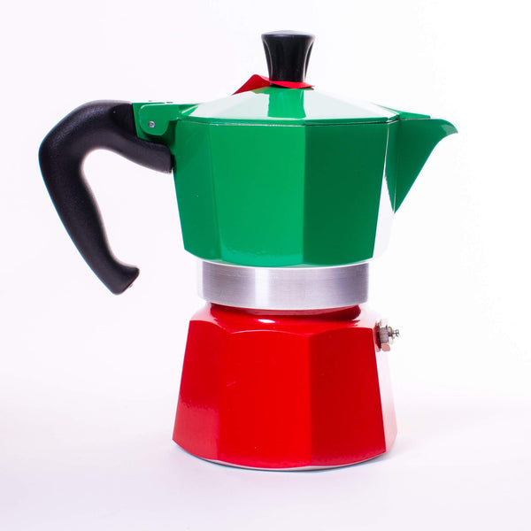 Back view of Bialetti Moka Tricolor with red bottom, green top and silver middle band with a red sash on it and the white logo on the green.