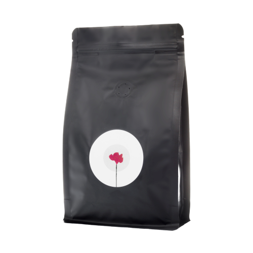 San Giusto caffe blu beans in black bag with white circle and flower logo