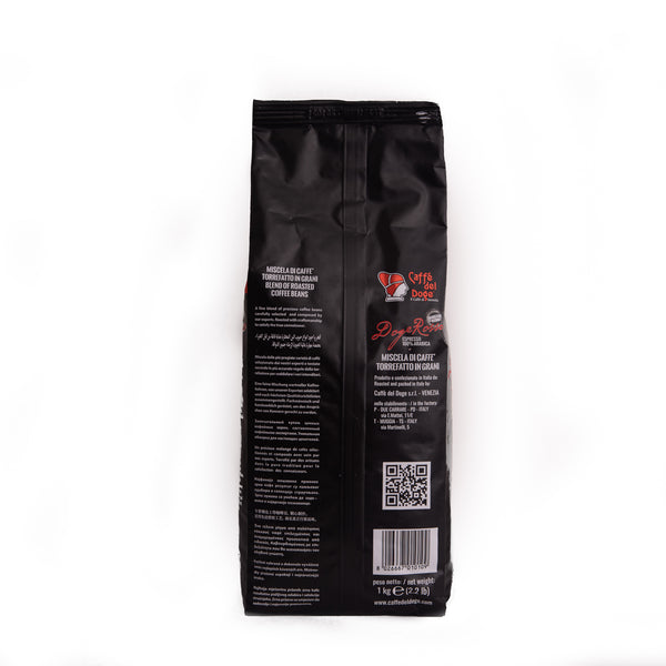 Coffee in Italia's product Caffe del Doge 1K bag of coffee beans in a black package with red writing back view