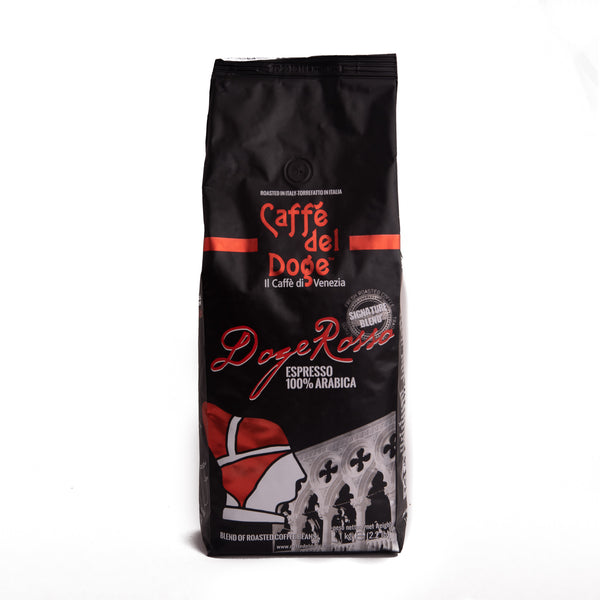 Coffee in Italia's product Caffe del Doge 1K bag of coffee beans in a black package with red writing