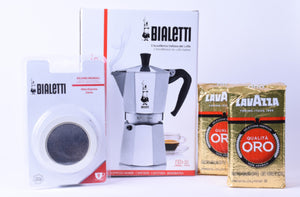 Bialetti and Lavazza soft pack of delicious espresso coffee and stove-top moka espresso coffee maker with replacement gaskets and filter.