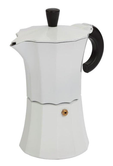 Gnali & Zani designed Morosina Express moka style stove-top aluminium espresso coffee maker in white.