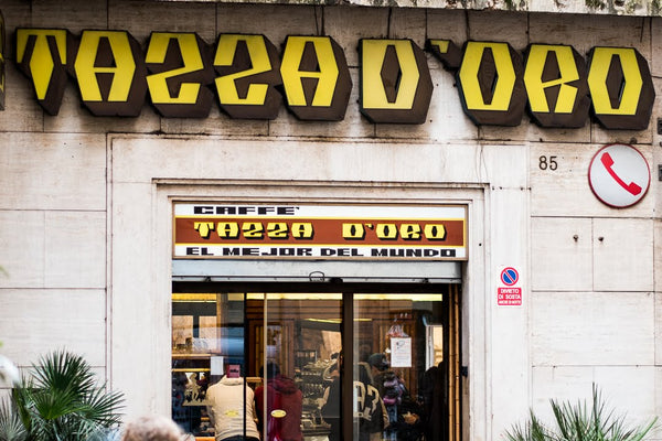 Tazzadoro sign and storefront at their location in Rome by the Pantheon