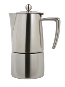 ILSA Slancio model espresso coffee maker in stainless steel 18/10 with an induction bottom.