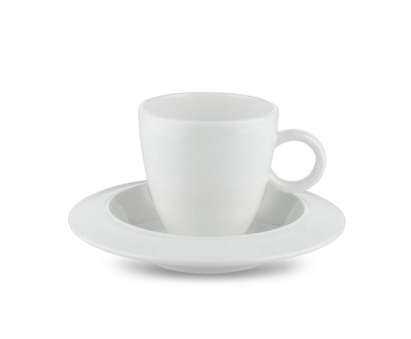 Alessi Bavero Mocha Espresso Coffee cup sitting on the matching saucer in white