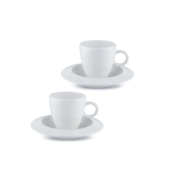 Alessi Bavero Mocha Espresso Coffee cups sitting on the matching saucers in white, 2