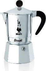 Bialetti Break Black 3 cup stovetop espresso coffee maker.
