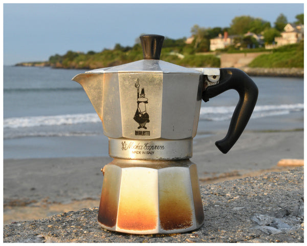 Bialetti moka pot on beach