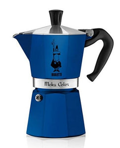 Bialetti Moka 6 Cup stove-top espresso coffee maker in blue.