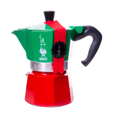 Front view of Bialetti Moka Tricolor with red bottom, green top and silver middle band with a red sash on it and the white logo on the green.