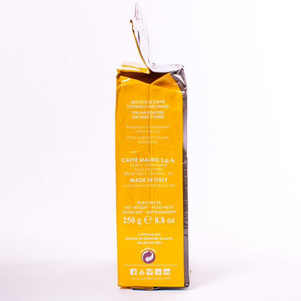 caffe mauro packet of italian coffee side view in yellow