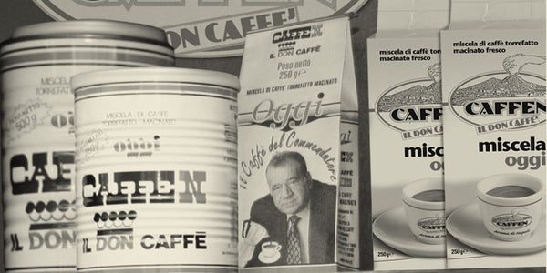 Caffen vintage packaging of their coffee in tins and packages