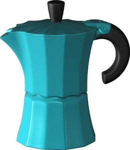 Gnali & Zani designed Morosina moka style stove-top aluminium espresso coffee maker in blue.