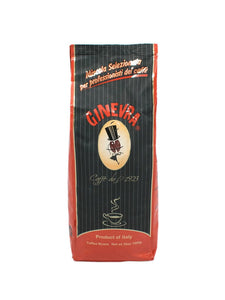 Caffe Ginevra bar coffee beans for professionals in a brown striped bag with red writing