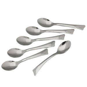 Gnali & Zani Kicco Caffé spoons in a set of six with all in the picture laid out. The end of each spoon is diagonally cut.