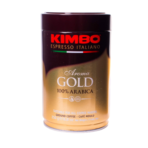 Kimbo gold espresso napoletano in a brown and gold can with red lettering