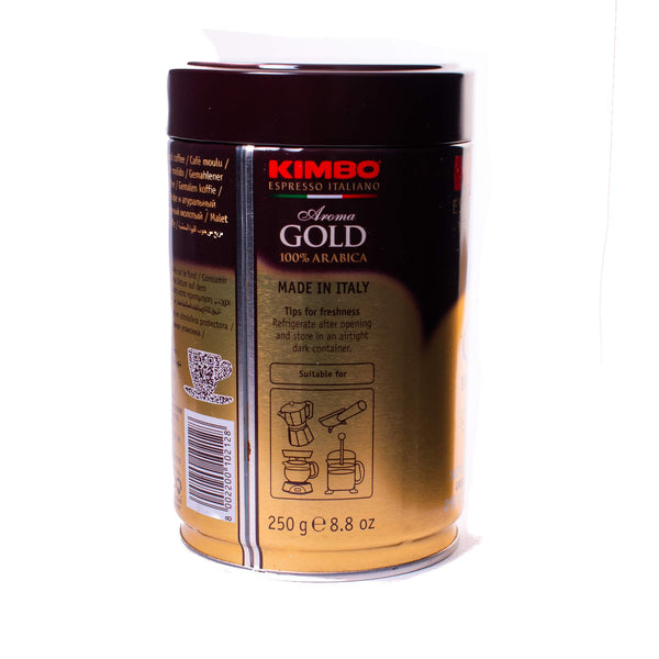 Side view of Kimbo gold can
