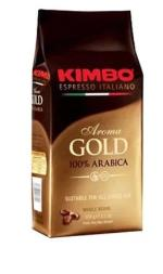 Kimbo aroma gold coffee beans in a 1K bag that is brown and gold with red writing