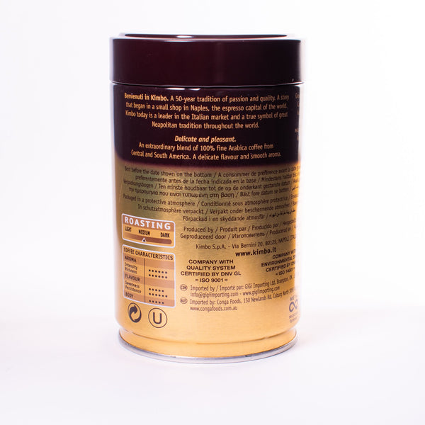 Back view of Kimbo gold can