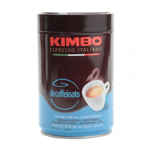 Kimbo Espresso Italiano decaffeinato tin in brown and blue