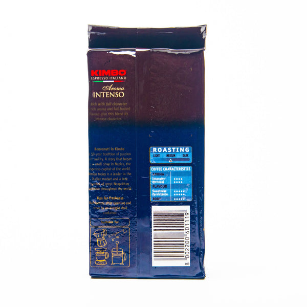 kimbo aroma intenso ground coffee from naples italy back view of packet