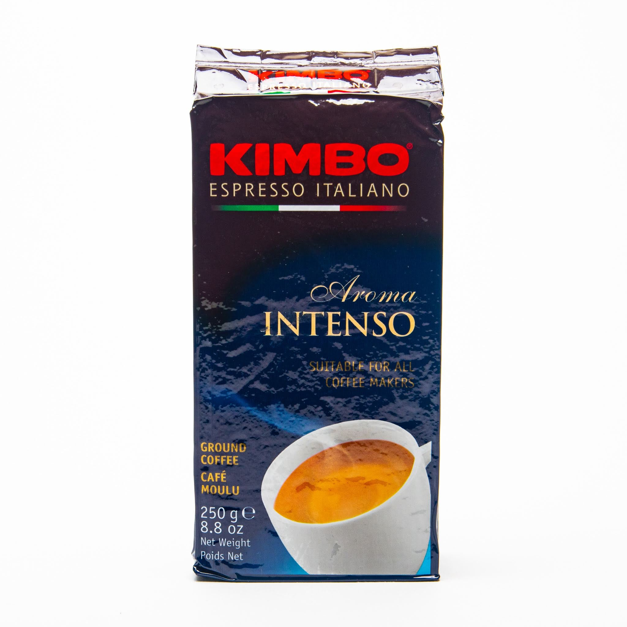 kimbo aroma intenso ground coffee from naples italy front view of packet