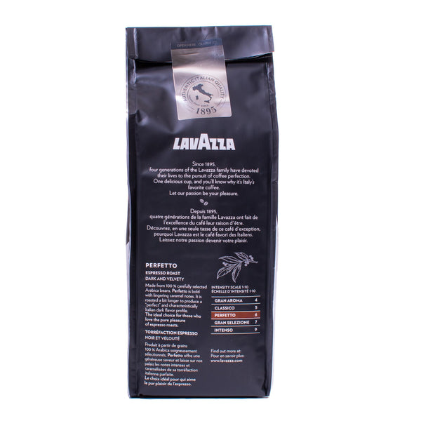 Back view of Lavazza Perfetto soft pack coffee
