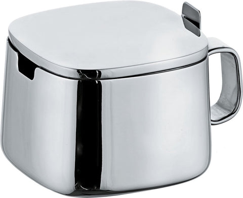 Alessi Sugar bowl in 18/10 stainless steel mirror polished.