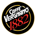 Caffe Vergnano 1882 circular logo with their name in white and the number in red