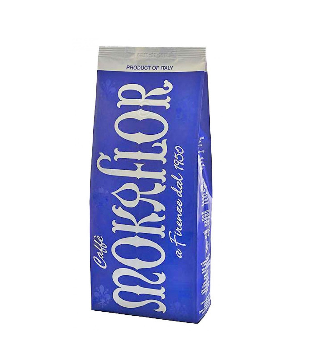 Mokaflor blu bag of coffee beans from Florence Italy in a blue bag with silver writing
