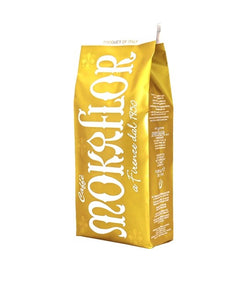 mokaflor oro coffee beans from florence italy in a yellow 2.2 lb bag