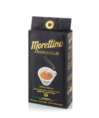 Caffe Morettino coffee from Sicily in a 250g black packet