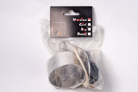 Gnali & Zani Morosina replacement parts set with a black label and clear plastic bag that holds a funnel, gasket, handle, knob and filter